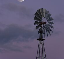 Moon over Windmill by randymir