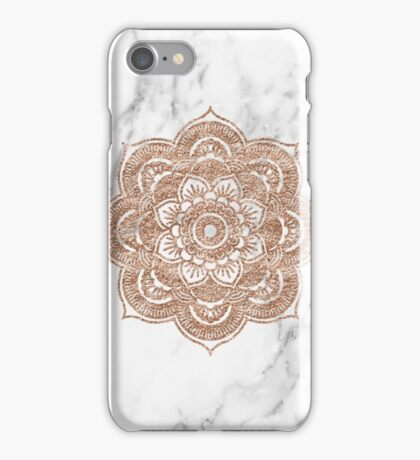 Rose gold mandala on marble iPhone Case/Skin