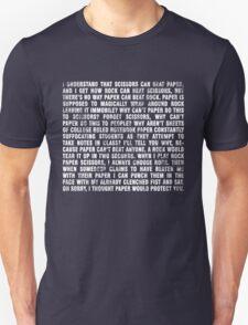 Rock beats paper. Unisex T-Shirt
