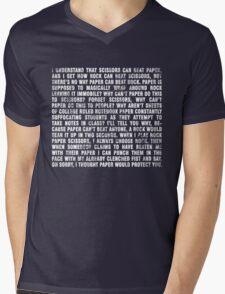 Rock beats paper. Mens V-Neck T-Shirt