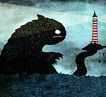 Sea monster & Lighthouse by djrbennett