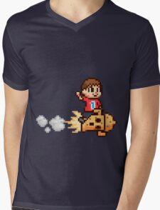 8-Bit Villager Riding Lloid Rocket (SSB4) Mens V-Neck T-Shirt