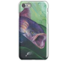 Large Mouth Sea Bass with Lure and Bubbles iPhone Case/Skin