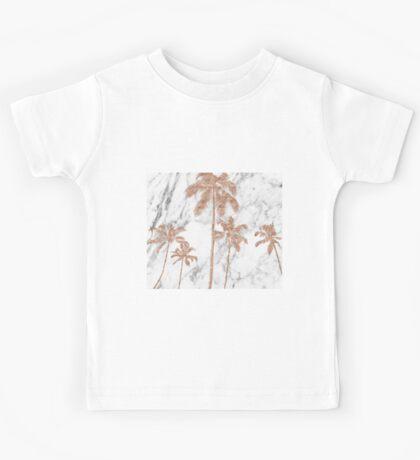 Rose gold marble palms Kids Tee