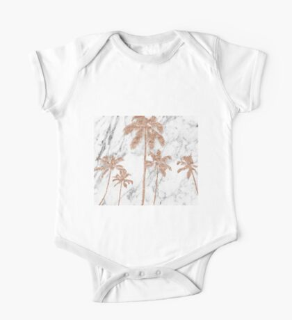 Rose gold marble palms One Piece - Short Sleeve
