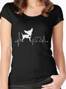 Funny Chihuahua, Chihuahua Heartbeat Women's Fitted Scoop T-Shirt