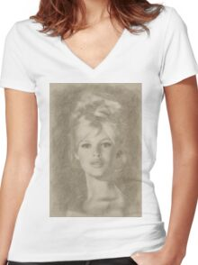 Brigitte Bardot Hollywood Icon Women's Fitted V-Neck T-Shirt