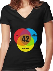 Venn Diagram Life the Universe & Everything  Women's Fitted V-Neck T-Shirt