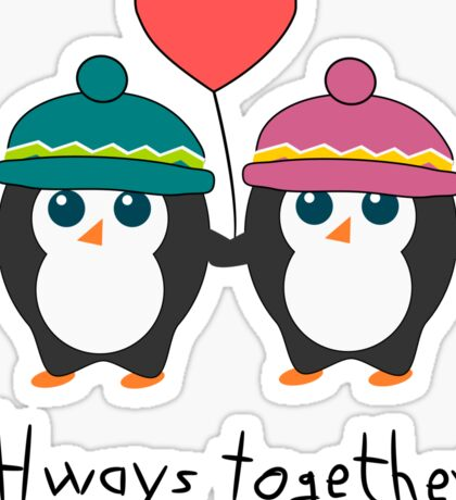 Cute penguins always together Sticker