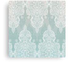 Lace & Shadows - soft sage grey & white Moroccan doodle Canvas Print