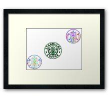 Tie Dye Cute Starbucks Pack (Clear) Framed Print