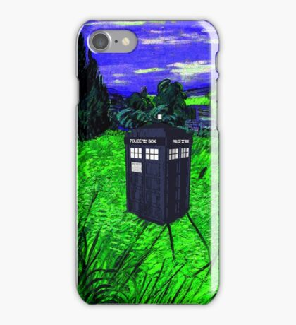 tardis in green pastures iPhone Case/Skin