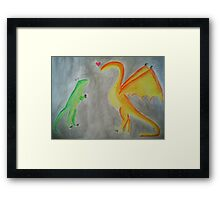 Rawrlove -- Watercolor Framed Print