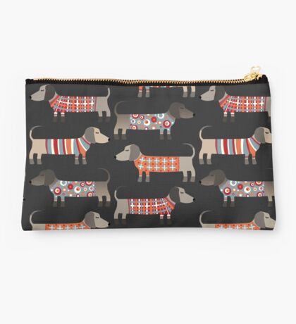 Sausage Dogs in Sweaters Dark Studio Pouch