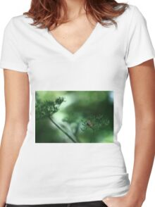 Leaf Fall On Cow Parsley. Jupiter 9 on EOS 7D Women's Fitted V-Neck T-Shirt