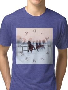 Horses galloping on snow Tri-blend T-Shirt