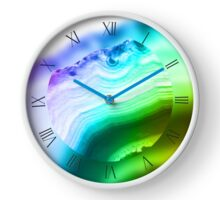 Rainbow colors fancy agate slice mineral Clock
