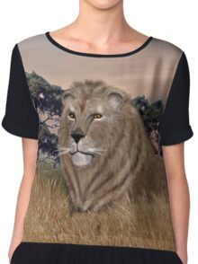 African Male Lion Chiffon Top