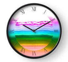 Fancy rainbow colors agate slice mineral Clock