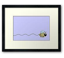 Cute bumble bee cartoon on purple background Framed Print
