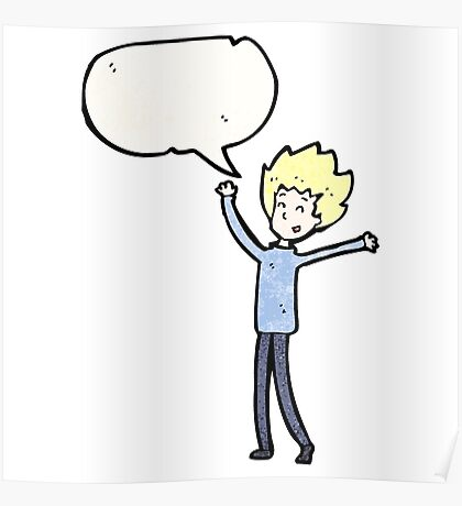 cartoon excited blond man Poster