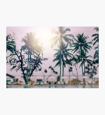 Blurred Background with Tilt-Shift Effect. Sunset at a Coastline Photographic Print