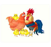 Family rooster Art Print