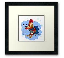 Bright cock for skiing in the winter.  Framed Print