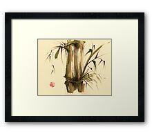 """Strolling along...""  Original sumi-e acrylic wash painting on paper. Framed Print"