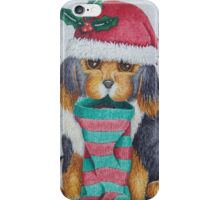 cute black and brown puppy with christmas stocking iPhone Case/Skin