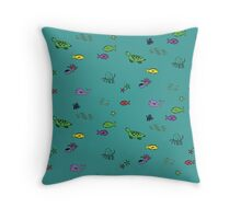 Ocean Animals - Blue Throw Pillow