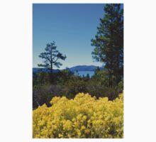 BIG BEAR LAKE WITH BRIGHT YELLOW FALL FLOWERS T-Shirt