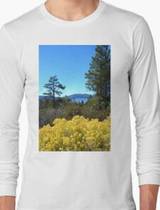BIG BEAR LAKE WITH BRIGHT YELLOW FALL FLOWERS Long Sleeve T-Shirt