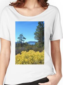 BIG BEAR LAKE WITH BRIGHT YELLOW FALL FLOWERS Women's Relaxed Fit T-Shirt