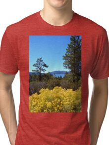 BIG BEAR LAKE WITH BRIGHT YELLOW FALL FLOWERS Tri-blend T-Shirt