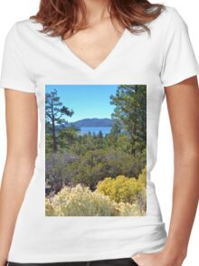 FALL COLORS SPECTACULAR IN BIG BEAR LAKE Women's Fitted V-Neck T-Shirt