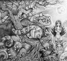 Alice and the Cheshire Cat (Phone & Tablet Cases) by Wil Zender