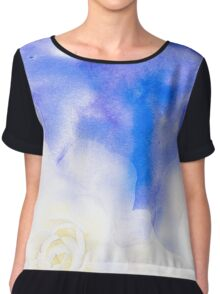 Blue background with white roses. Chiffon Top