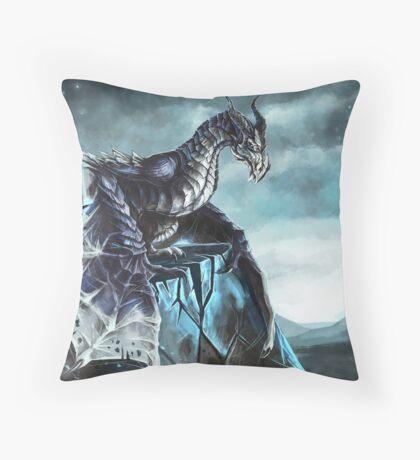 Frost Dragon Throw Pillow