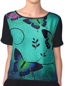 Colorful Butterflies Chiffon Top