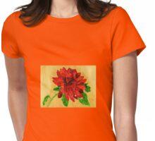 Fire Orange Dalhia Womens Fitted T-Shirt