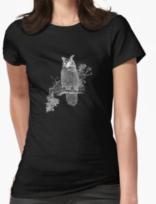 Great Horned Owl Illustration Womens Fitted T-Shirt