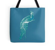 Peacock Illustration in Turquoise Tote Bag