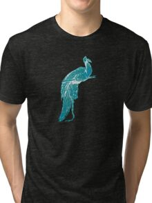 Peacock Illustration in Turquoise Tri-blend T-Shirt