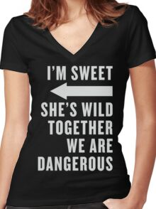 I'm Sweet She's Wild Together We Are Dangerous Best Friends Shirts White Ink - Bff, besties quotes Women's Fitted V-Neck T-Shirt