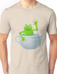Animal cartoon color frog in cup Unisex T-Shirt