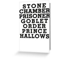 Stone Chamber Prisoner Goblet Order Prince Hallows - Harry Potter Books, List of Harry Potter Books, Harry Potter Shirt Greeting Card