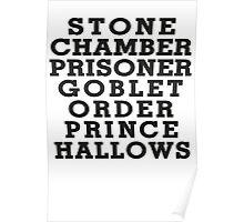 Stone Chamber Prisoner Goblet Order Prince Hallows - Harry Potter Books, List of Harry Potter Books, Harry Potter Shirt Poster