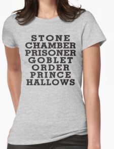 Stone Chamber Prisoner Goblet Order Prince Hallows - Harry Potter Books, List of Harry Potter Books, Harry Potter Shirt Womens Fitted T-Shirt
