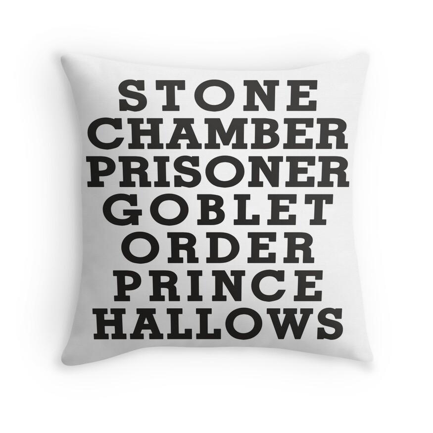 Stone Chamber Prisoner Goblet Order Prince Hallows - Harry Potter Books, List of Harry Potter Books, Harry Potter Shirt | Throw Pillow